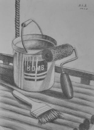 静物素描《油漆工具》
